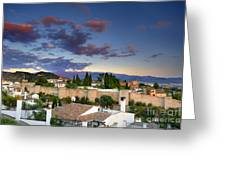 The Alhambra Palace And Albaicin At Sunset Greeting Card