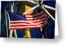 Tribute To The American Flag Oil Industry Greeting Card