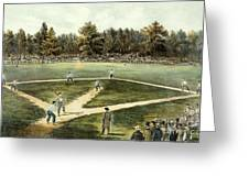 The American National Game Of Baseball Grand Match At Elysian Fields Greeting Card by Currier and Ives