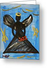 The Angel Of Jazz Greeting Card by Mary Carol Williams