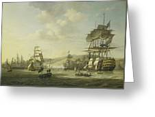 The Anglo Dutch Fleet In The Bay Of Algier Greeting Card