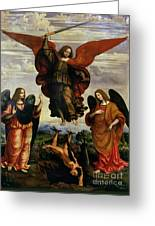 The Archangels Triumphing Over Lucifer Greeting Card