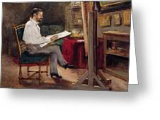 The Artist Morot In His Studio Greeting Card