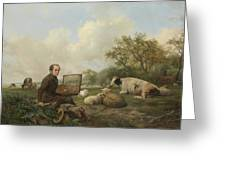 The Artist Painting A Cow In A Meadow, 1850 Greeting Card