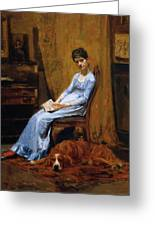 The Artist Wife And His Setter Dog 1889 Greeting Card