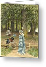 The Artist's Wife And Daughters In A Park At Heringsdorf Greeting Card