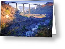 The Atenquique River Passes Under The Highway Bridge Greeting Card