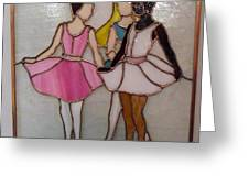 The Ballet Dancers In Stained Glass Greeting Card by Arlene  Wright-Correll