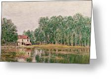 The Banks Of The Canal At Moret Sur Loing Greeting Card