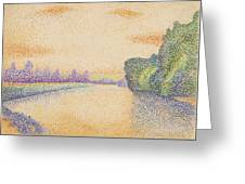 The Banks Of The Marne At Dawn 1888 Greeting Card