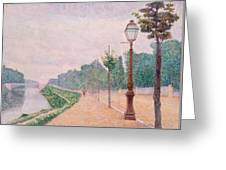 The Banks Of The Seine At Neuilly 1886 Greeting Card