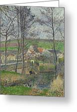 The Banks Of The Viosne At Osny In Grey Weather, Winter Greeting Card