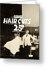 The Barbershop Window Greeting Card