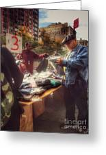 The Bargaining Table - Street Vendors Of New York Greeting Card