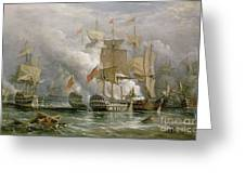 The Battle Of Cape St Vincent Greeting Card by Richard Bridges Beechey