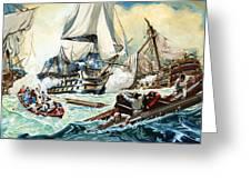 The Battle Of Trafalgar Greeting Card by English School