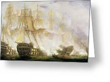 The Battle Of Trafalgar Greeting Card by John Christian Schetky