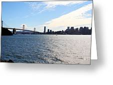 The Bay Bridge And The San Francisco Skyline Viewed From Treasure Island . 7d7771 Greeting Card