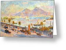 The Bay Of Naples With Vesuvius In The Background Greeting Card