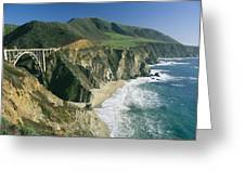 The Beach And Shoreline Along Highway 1 Greeting Card by Phil Schermeister