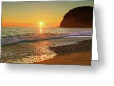 the beach and the Mediterranean sea in Montenegro in the summer at sunset Greeting Card