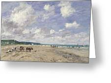 The Beach At Tourgeville Greeting Card by Eugene Louis Boudin