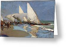 The Beach At Valencia Greeting Card