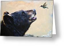 The Bear And The Hummingbird Greeting Card