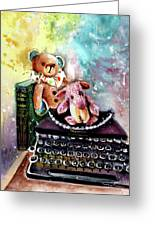 The Bear And The Sheep And The Typewriter From Whitby Greeting Card
