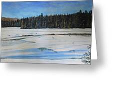 The Beaver Pond In Winter Greeting Card