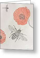 The Bee And Red Poppies  Greeting Card