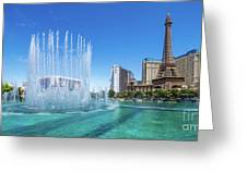 The Bellagio Fountains In Front Of The Eiffel Tower 2 To 1 Ratio Greeting Card