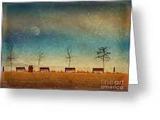 The Benches By The Moon Greeting Card