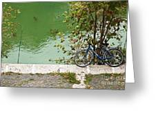 The Bicycle Is A Ubiquitous Form Of Transport In Europe And This Owner Has Literally Gone Fishing. Greeting Card