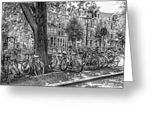 The Bicycles Of Amsterdam In Black And White Greeting Card