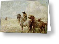 The Bison Hunters Greeting Card by Nathaniel Hughes John Baird