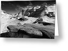The Bisti Badlands - New Mexico - Black And White Greeting Card