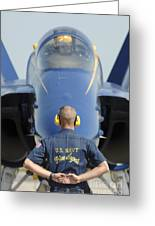 the Blue Angels waits for a signal from his pilot  Greeting Card