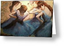 The Blue Ballerinas - A Edgar Degas Artwork Adaptation Greeting Card by Rosario Piazza