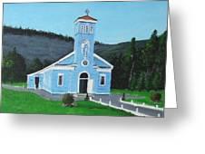 The Blue Church Greeting Card