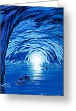 The Blue Grotto In Capri By Mcbride Angus  Greeting Card