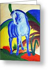 The Blue Horse Franc Marz Greeting Card
