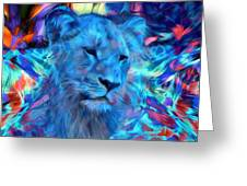 The Blue Lioness Greeting Card