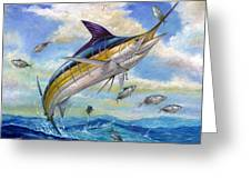 The Blue Marlin Leaping To Eat Greeting Card by Terry  Fox