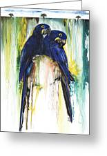 The Blue Parrots Greeting Card by Anthony Burks Sr