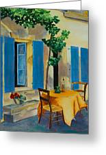 The Blue Shutters Greeting Card by Elise Palmigiani