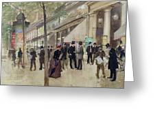 The Boulevard Montmartre And The Theatre Des Varietes Greeting Card