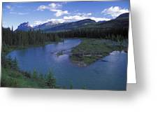 The Bow River And Castle Mountain Greeting Card