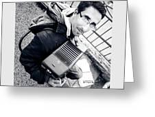 The Brave Accordion Player Greeting Card by Stwayne Keubrick