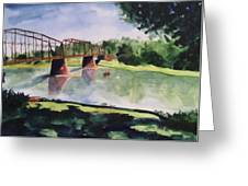 The Bridge At Ft. Benton Greeting Card by Andrew Gillette